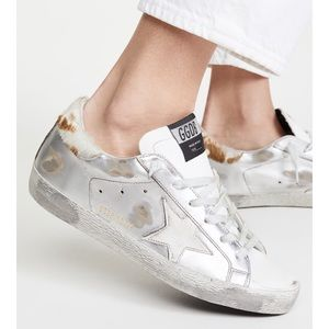 Golden Goose Superstar Silver/Cow Heel sz 41 NIB